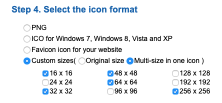 Icon format choices on icoconvert.com