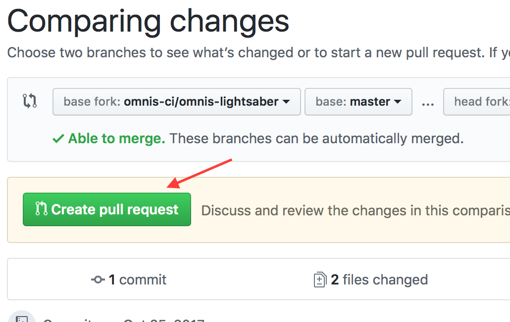 GitHub web create pull request